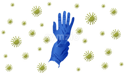 Illustration of a pair of surgical gloves on seamless virus pattern background. Vector Stock Vector