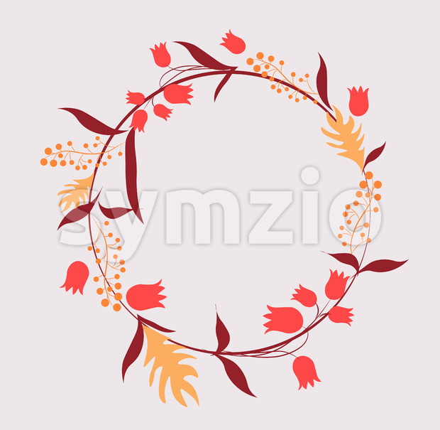 Abstract circle that consists of tulips, leaves and twigs. Vector