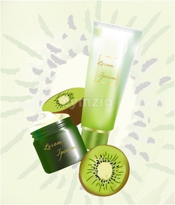 Illustration of a jar and a tube with cream surrounded by kiwis with place for text. Vector Stock Vector