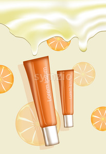 Illustration of two orange cream tubes with place for text on oranges pattern and cream background. Vector Stock Vector