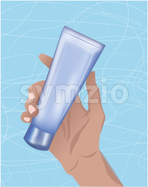 Illustration of a hand holding a tube of cream. Abstract blue background. Vector