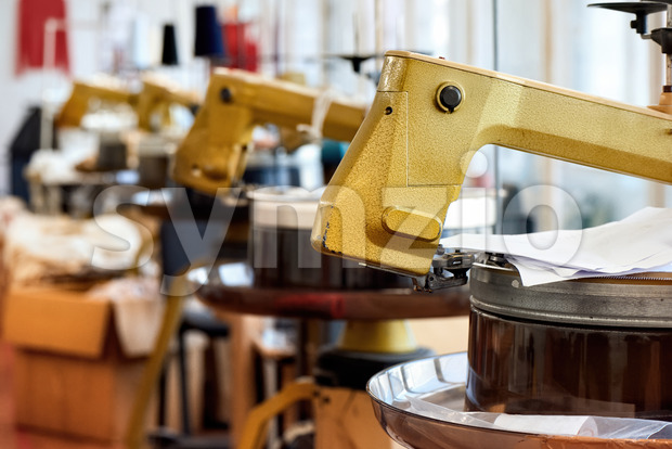 Lots of sewing machines Stock Photo