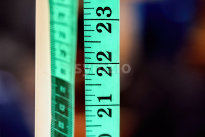 Green centimeter tape Stock Photo