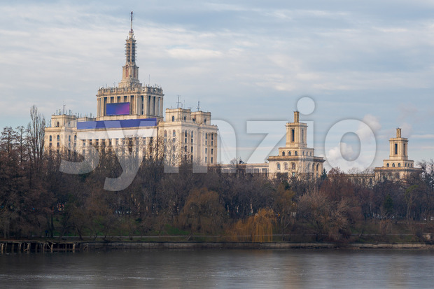 The House of the Free Press in Bucharest seen from Herestrau Park or King Mihai I park. Romania Stock Photo