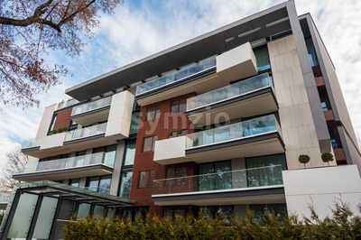 Modern apartment house during the day, Bucharest, Romania Stock Photo