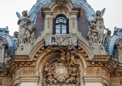 Beautiful facade of the Cantacuzino Palace in the city of Bucharest, Romania Stock Photo