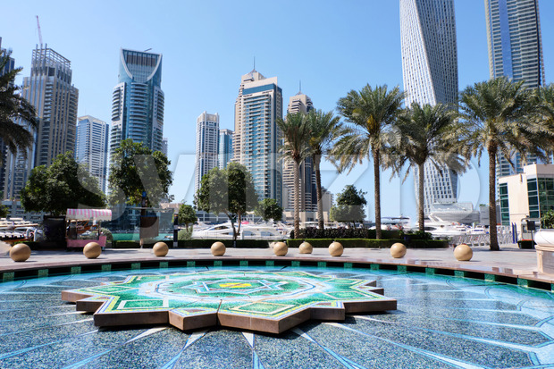 Marina pond in Dubai. Tower and cityscape on background, United Arab Emirates Stock Photo