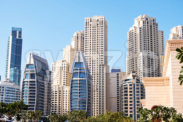 Dubai cityscape at daylight. Clear sky. United Arab Emirates Stock Photo