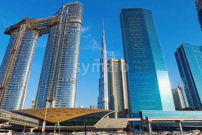 Dubai cityscape with Burj Khalifa tower in United Arab Emirates Stock Photo