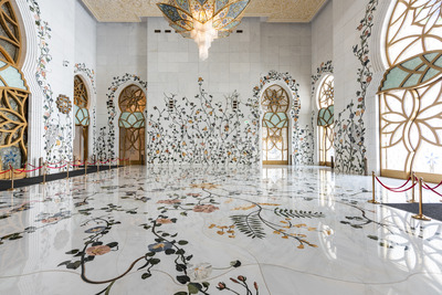 ABU DHABI, UNITED ARAB EMIRATES - FEBRUARY 25, 2019: Wonderful middle East style decorations inside of the famous Sheikh Zayed Grand Mosque Stock Photo
