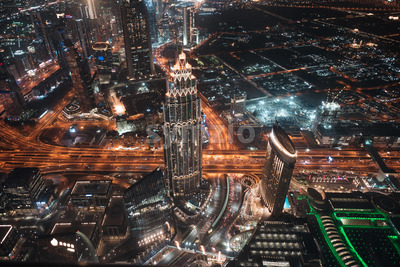 Colourful view of Dubai, United Arab Emirates. Aerial view on highways and skyscrapers. Wide angle shot of the cityscape Stock Photo