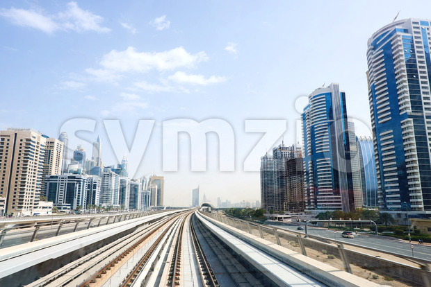 Dubai Metro rail road at daylight. United Arab Emirates Stock Photo