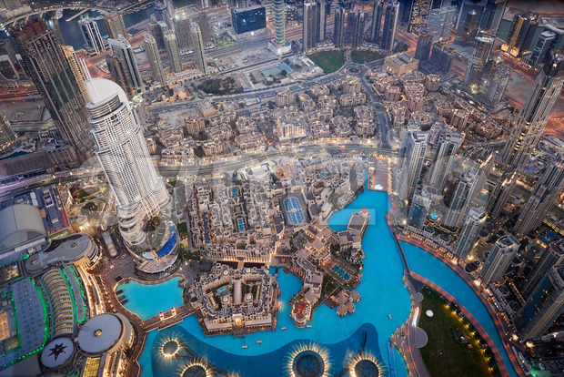 Dubai Cityscape at sunset from tallest building view. United Arab Emirates Stock Photo