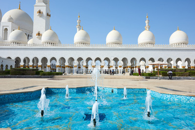 Sheikh Zayed Grand Mosque at daylight. Abu Dhabi, United Arab Emirates Stock Photo