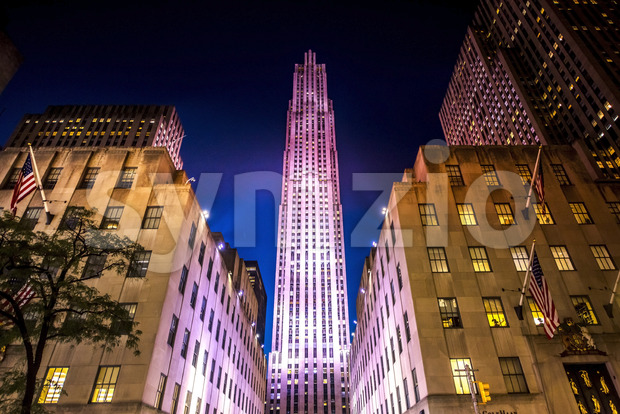 Rockefeller Center with illumination at night in New York, USA. Vibrant colors Stock Photo
