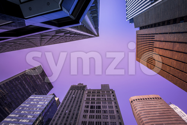High and modern buildings in New York, view from below, USA. Vibrant colors