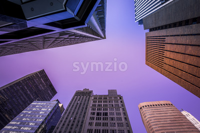 High and modern buildings in New York, view from below, USA. Vibrant colors Stock Photo