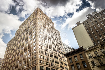 High and modern building in New York, USA. Vibrant colors Stock Photo