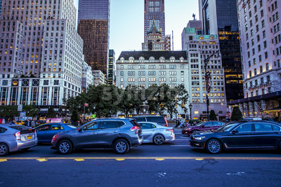 NEW YORK, USA - SEPTEMBER 19, 2019: A busy street with multiple cars, buildings on the background. Vibrant colors Stock Photo