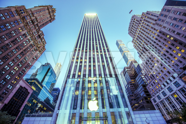 NEW YORK, USA - SEPTEMBER 19, 2019: Apple Store located in a skyscraper with high buildings around. Vibrant colors Stock Photo