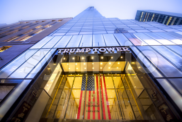 NEW YORK, USA - SEPTEMBER 19, 2019: Entrance to the Trump Tower. Vibrant colors Stock Photo