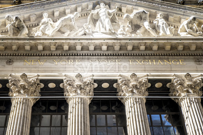 NEW YORK, USA - SEPTEMBER 19, 2019: Stock Exchange building exterior. Vibrant colors Stock Photo