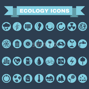 Ecology Icons Set, Nature Symbols. Green energy. Forms and types of renewable energy source. Vector digital illustration. Stock Vector