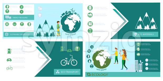 Ecology banner set template Vector. Earth, energy, Eco transport and sustainable materials. Green info graphic icon