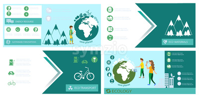 Ecology banner set template Vector. Earth, energy, Eco transport and sustainable materials. Green info graphic icon Stock Vector