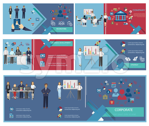 Business banner templates set. Team building. Projects company development info graphic