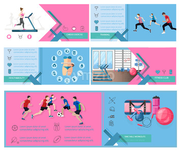 Digital Vector sports banner templates. Info graphic presentation icons design concept Stock Vector