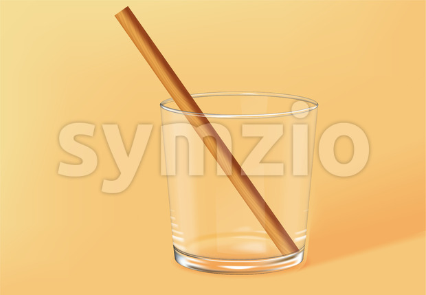 Empty old fashioned glass with bamboo straw inside. Beige background. Vector Stock Vector