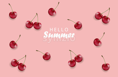 Hello summer banner with cherry fruits and rose background. Vector Stock Vector