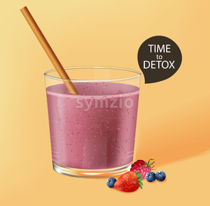 Old fashioned glass with bamboo straw. Berry smoothie with strawberry and blueberry decoration. Time to detox. Vector Stock Vector