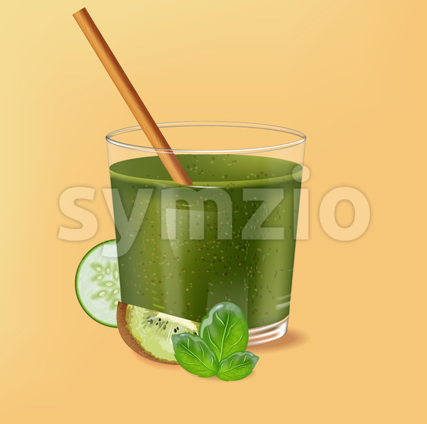 Old fashioned glass with bamboo straw. Spinach green smoothie with kiwi, cucumber and lime decoration. Vector