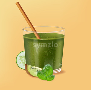 Old fashioned glass with bamboo straw. Spinach green smoothie with kiwi, cucumber and lime decoration. Vector Stock Vector