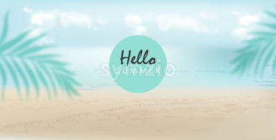 Hello summer banner with beach, sea and palm leaves. Cloudy day with breeze. Vector Stock Vector