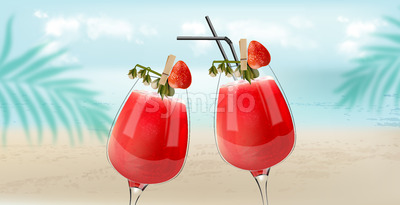 Strawberry cocktails clinking with beach, sea and palm leaves on background. Breeze atmosphere. Vector Stock Vector