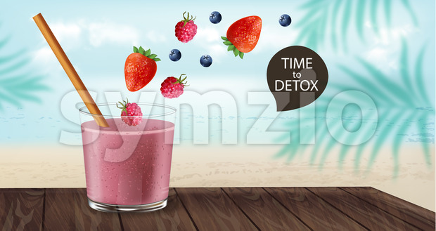 Time to detox banner with old fashioned glass and bamboo straw. Berry smoothie with strawberry and blueberry decoration flying. Beach and palm leaves Stock Vector
