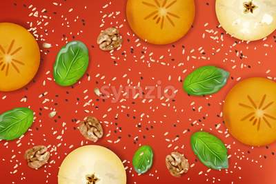 Apple and khaki fruit slices, walnut, spinach leaves, poppy and sesame seeds on red background. Healthy food composition. Vector Stock Vector