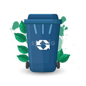 Blue trash can with lid and ecology sign. Green leaves on background. Vector Stock Vector