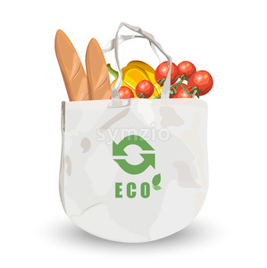 Reusable fabric eco friendly bag with groceries inside. Bread, tomatoes and pumpkin. Vector Stock Vector