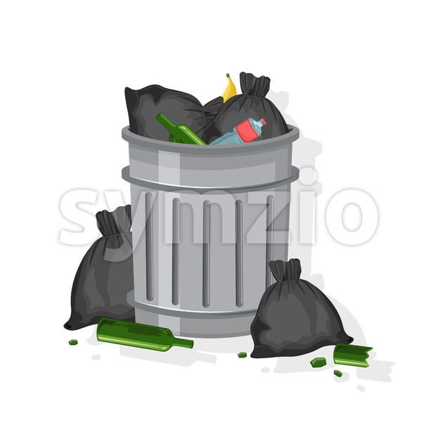 Trash can filled with garbage bags, glasses of wine, plastic bottles and banana peels. Vector Stock Vector