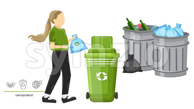Little girl using ecology bag for throwing trash in the can. Traditional cans on background. Vector