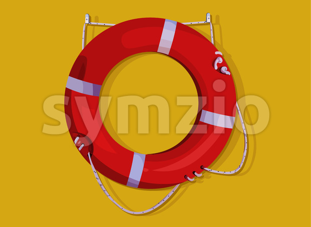 Red lifebuoy ring hanging on yellow wall. Life saving. Vector Stock Vector