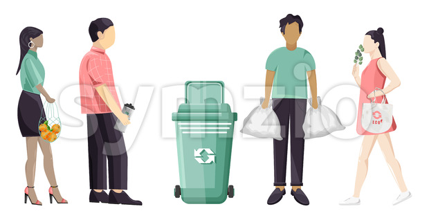 Set of people using eco friendly reusable bags and trash can. Colorful clothes. Vector