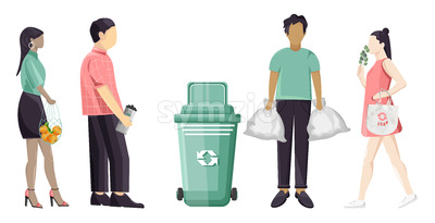 Set of people using eco friendly reusable bags and trash can. Colorful clothes. Vector Stock Vector