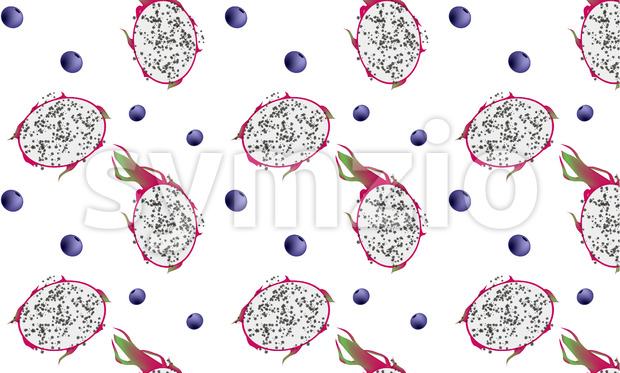 Fresh blueberry and dragon fruit pattern. Exotic fruits. Vector Stock Vector