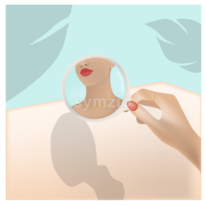 Young woman looking at herself in a round mirror. Palm leaf and turquoise color background. Vector Stock Vector