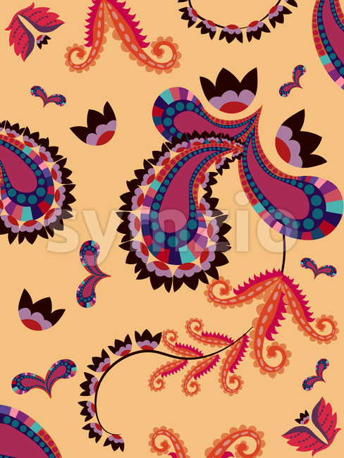 Abstract oriental style floral geometric pattern with flowers and ornaments shapes. Vector Stock Vector